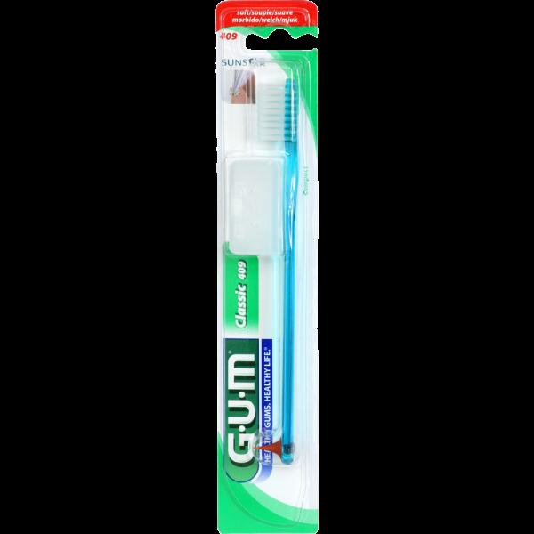 GUM Classic Zahnbürste, kompakt, weich, mit Gummikegel (Blister)